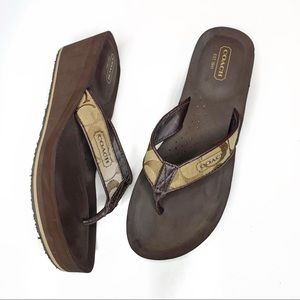 Coach platform wedge flip flop